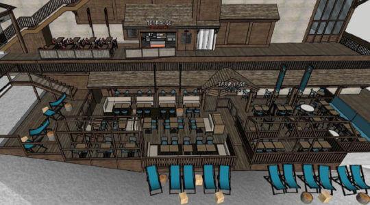 Modelisation 3D de l'exterieur du Terrasse Café